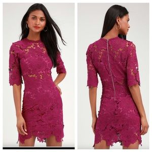 Lulu's A Fine Romance Magenta Lace Sheath Dress